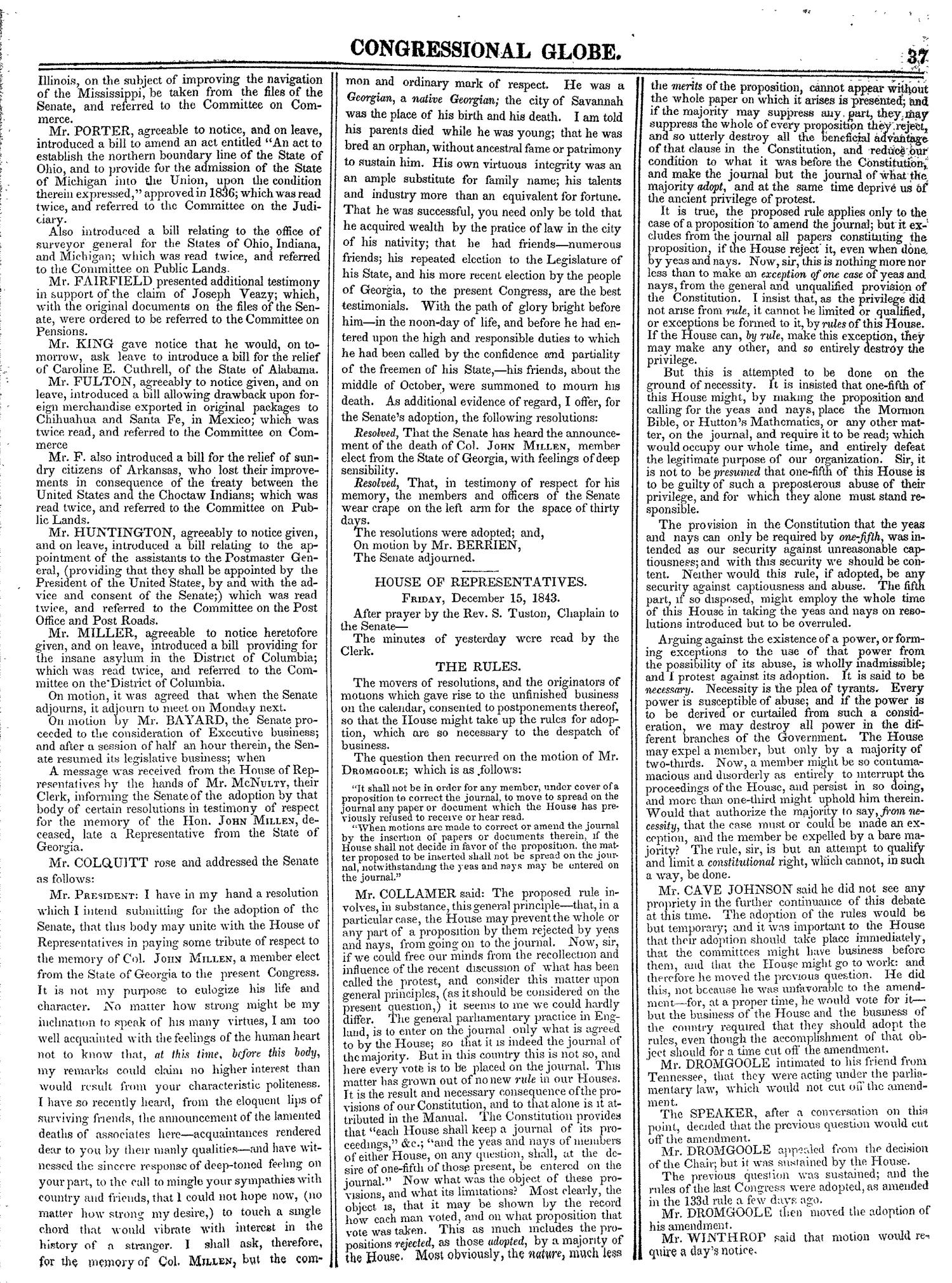 The Congressional Globe, Volume 13, Part 1: Twenty-Eighth Congress, First Session                                                                                                      37