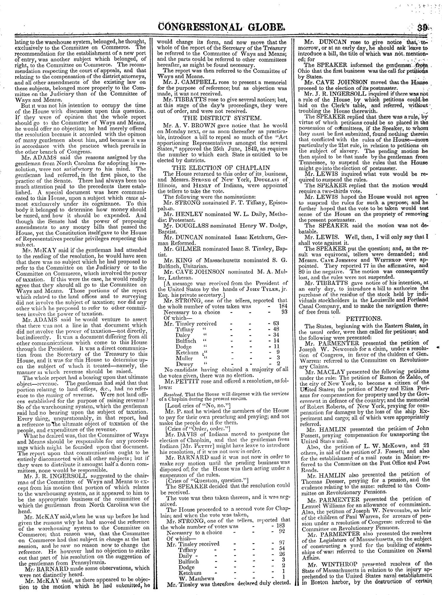 The Congressional Globe, Volume 13, Part 1: Twenty-Eighth Congress, First Session                                                                                                      39