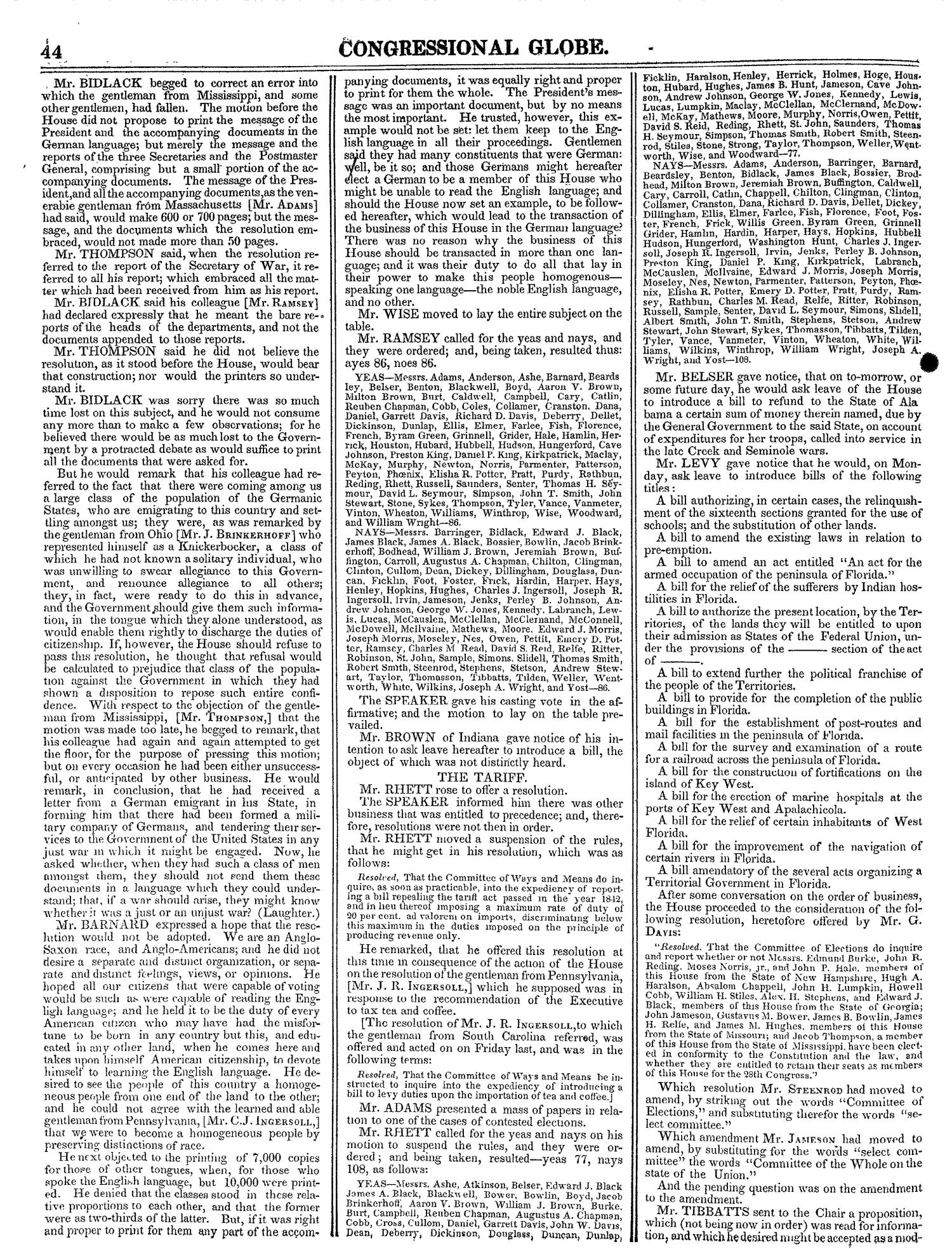 The Congressional Globe, Volume 13, Part 1: Twenty-Eighth Congress, First Session                                                                                                      44