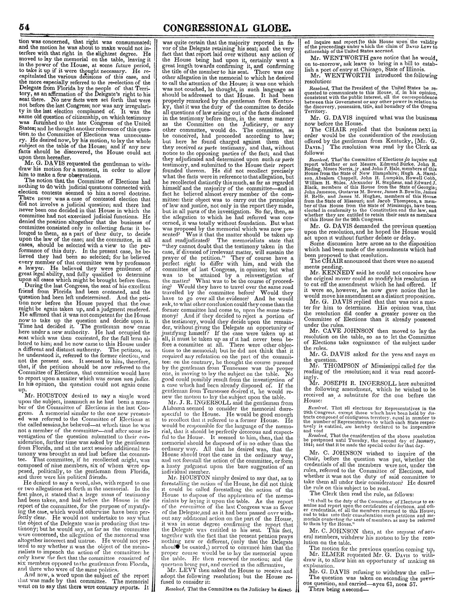 The Congressional Globe, Volume 13, Part 1: Twenty-Eighth Congress, First Session                                                                                                      54