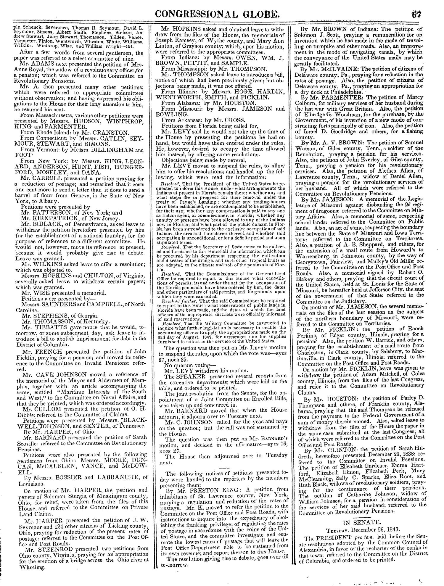 The Congressional Globe, Volume 13, Part 1: Twenty-Eighth Congress, First Session                                                                                                      67