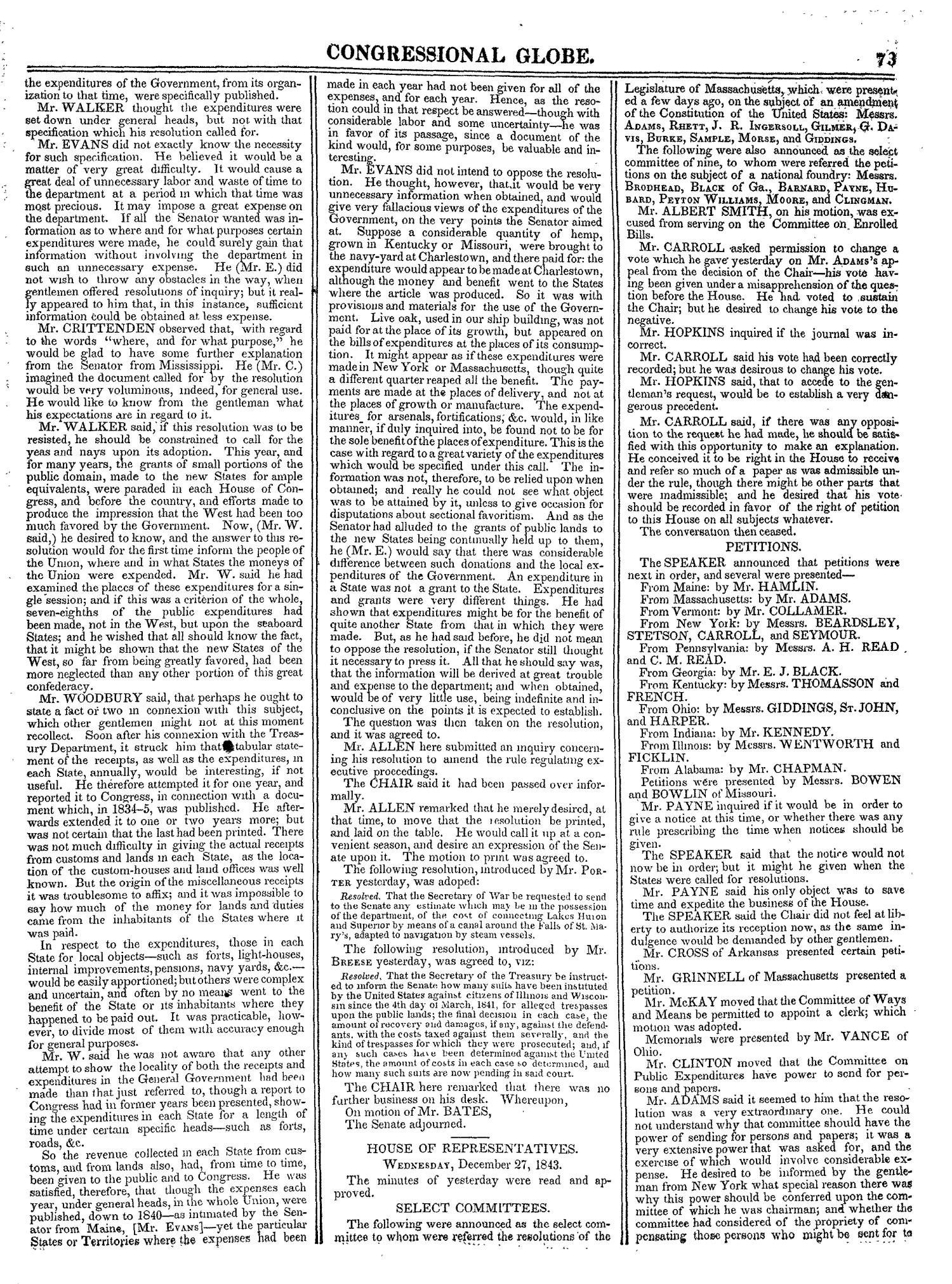The Congressional Globe, Volume 13, Part 1: Twenty-Eighth Congress, First Session                                                                                                      73