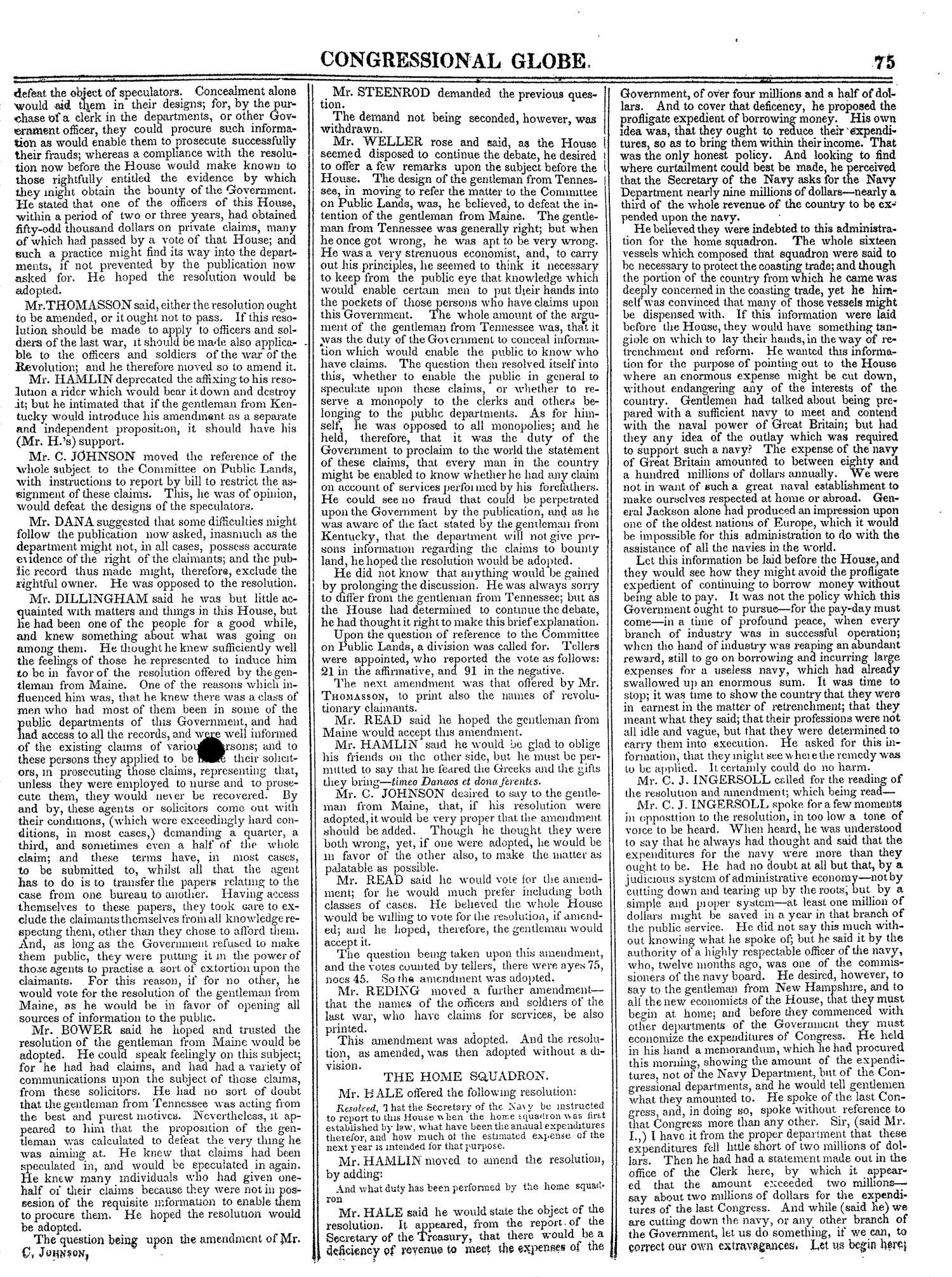The Congressional Globe, Volume 13, Part 1: Twenty-Eighth Congress, First Session                                                                                                      75