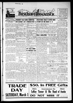 Primary view of object titled 'Bastrop Advertiser (Bastrop, Tex.), Vol. 87, No. 50, Ed. 1 Thursday, February 27, 1941'.