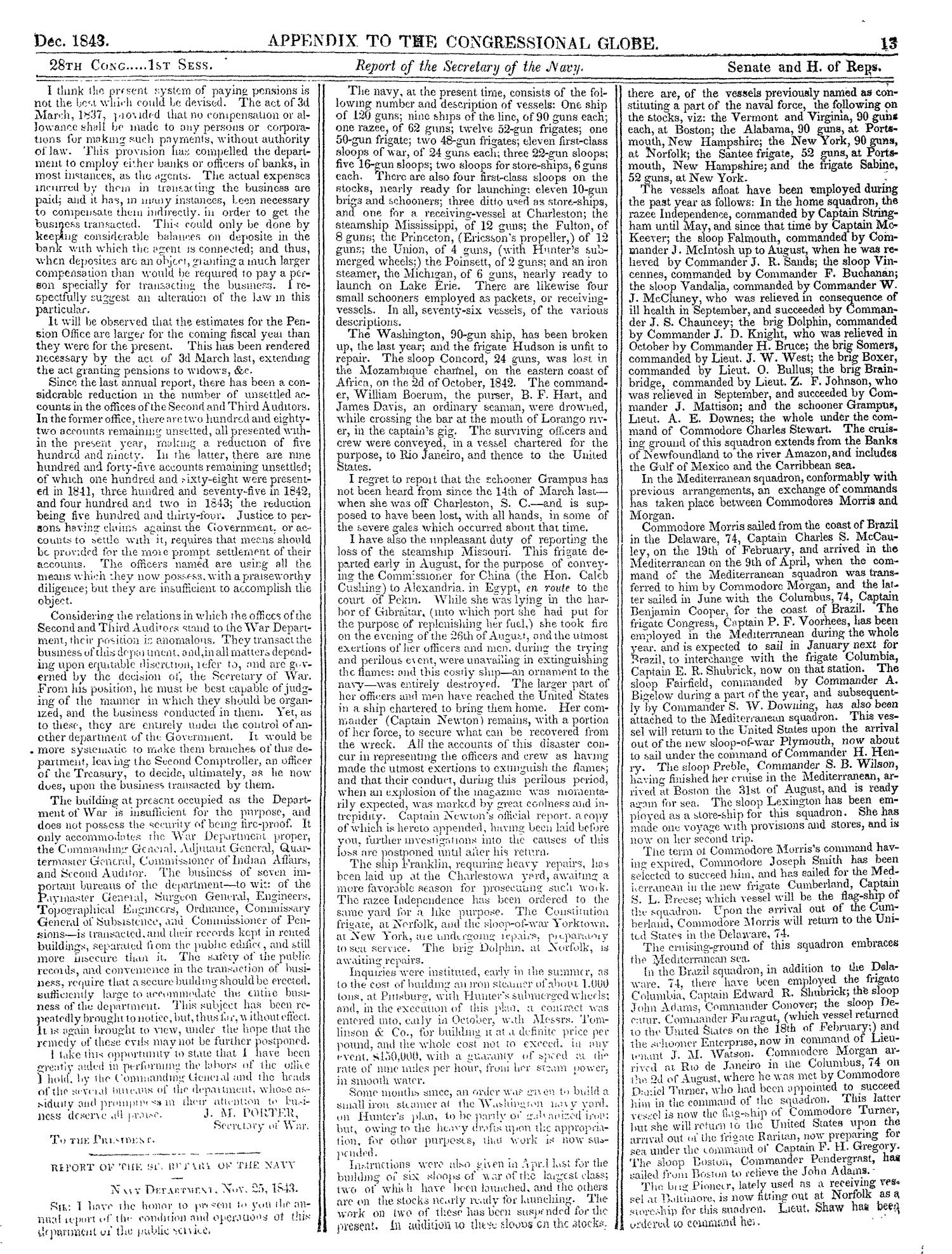 The Congressional Globe, Volume 13, Part 2: Twenty-Eighth Congress, First Session                                                                                                      13