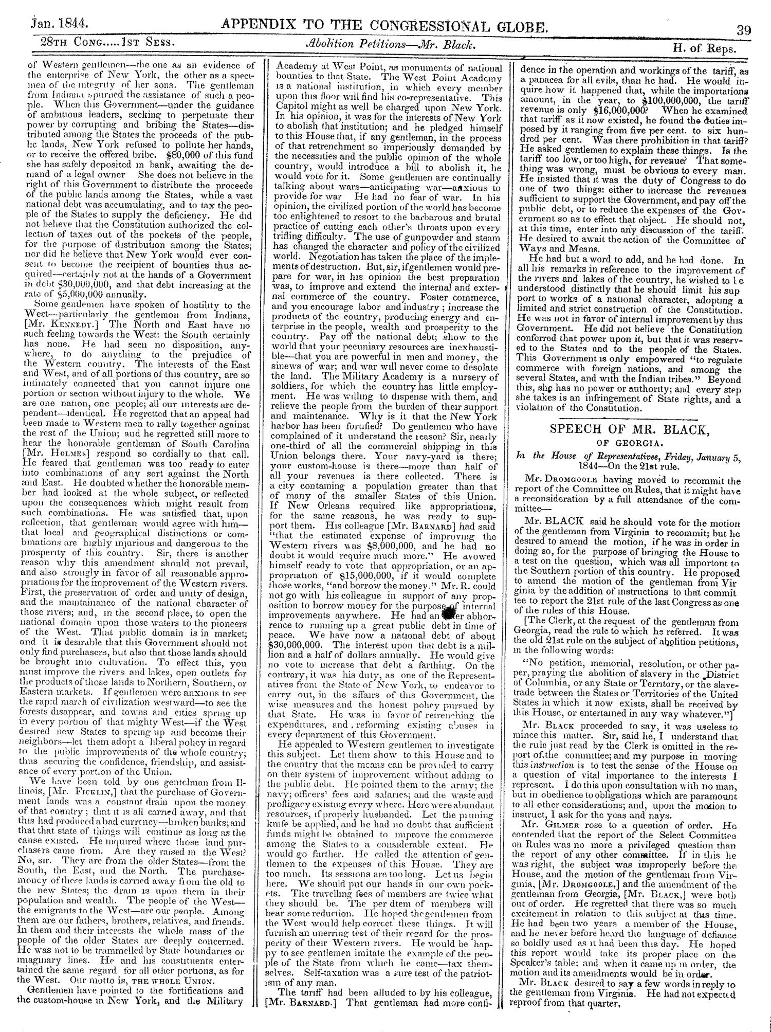The Congressional Globe, Volume 13, Part 2: Twenty-Eighth Congress, First Session                                                                                                      39