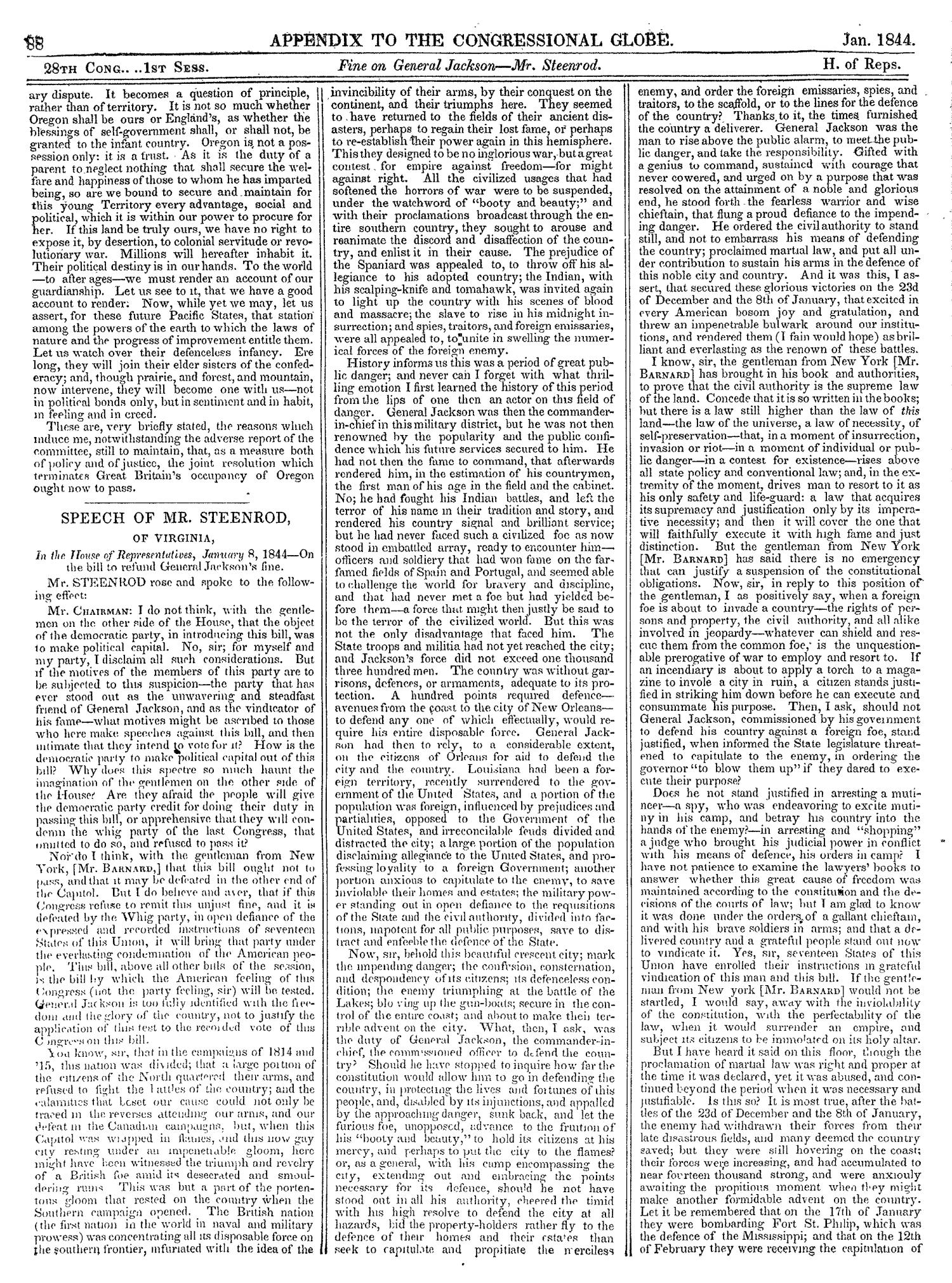 The Congressional Globe, Volume 13, Part 2: Twenty-Eighth Congress, First Session                                                                                                      88