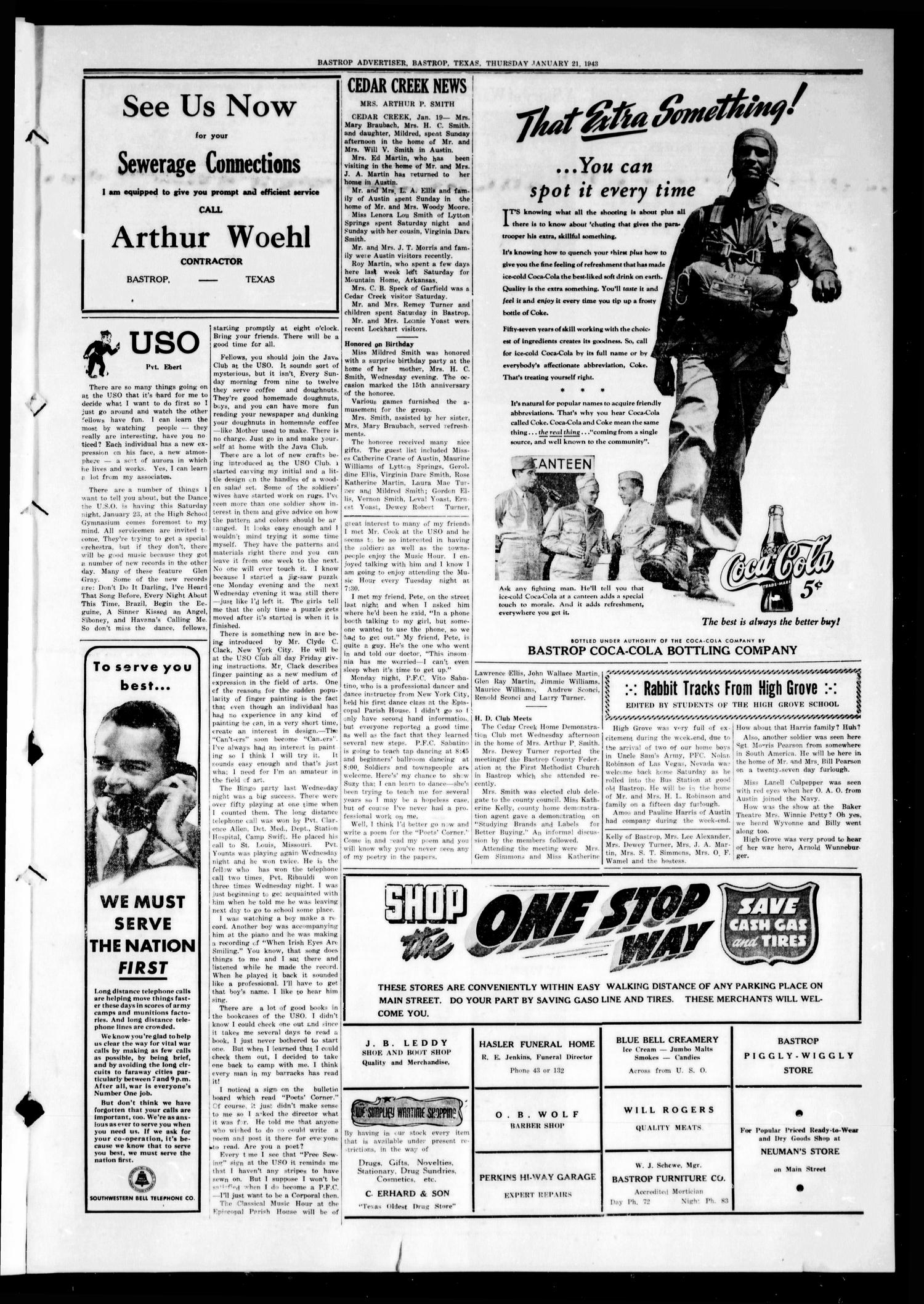Bastrop Advertiser (Bastrop, Tex.), Vol. 89, No. 44, Ed. 1 Thursday, January 21, 1943                                                                                                      [Sequence #]: 3 of 8