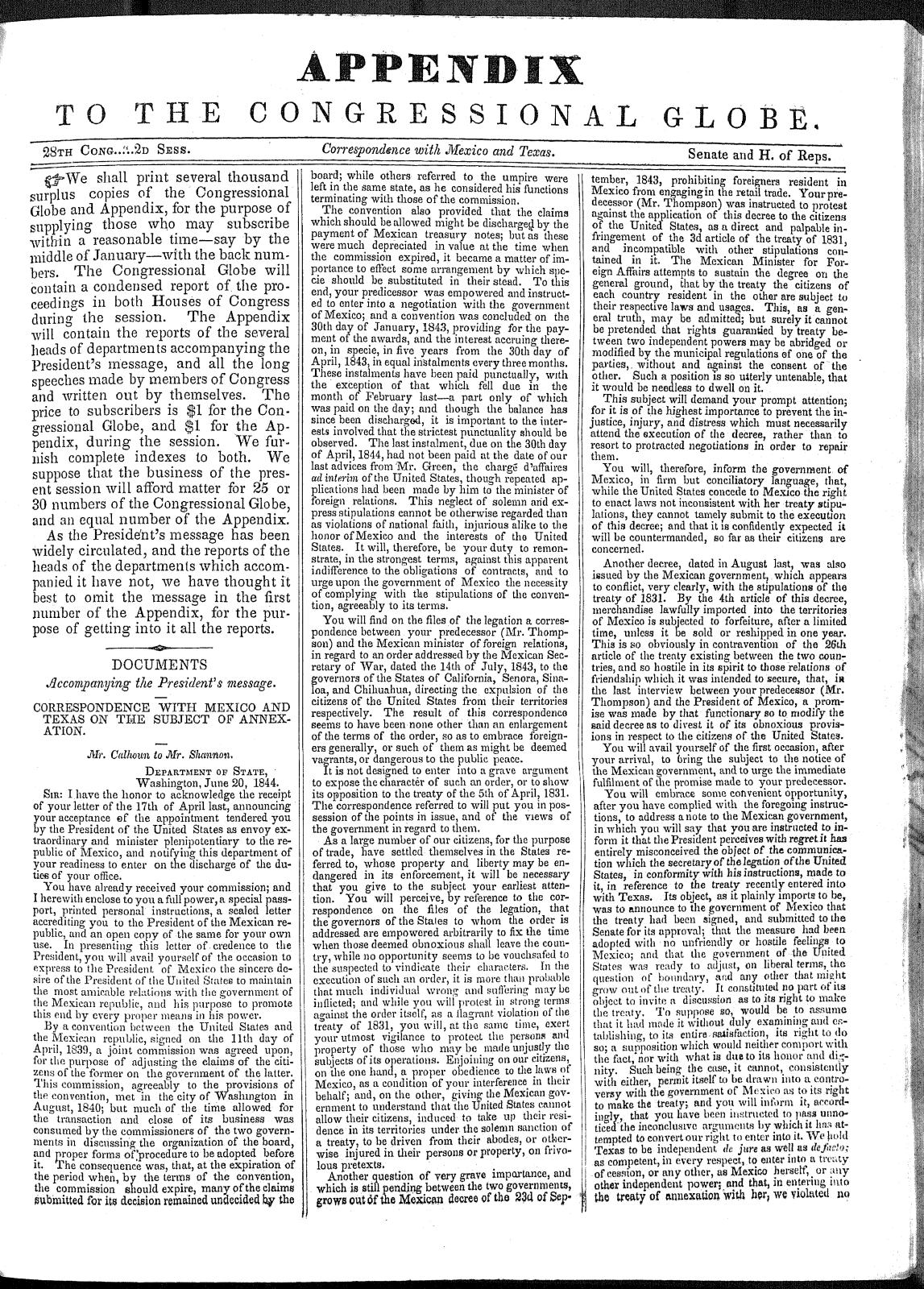 Congressional Globe (Permanent Edition) Volume 85: 28th Congress, 2nd session, Appendix                                                                                                      [Sequence #]: 2 of 288