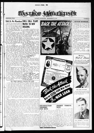 Primary view of object titled 'Bastrop Advertiser (Bastrop, Tex.), Vol. 90, No. 28, Ed. 1 Thursday, September 30, 1943'.