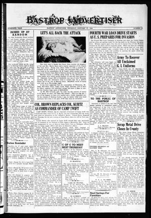 Primary view of object titled 'Bastrop Advertiser (Bastrop, Tex.), Vol. 90, No. 45, Ed. 1 Thursday, January 27, 1944'.