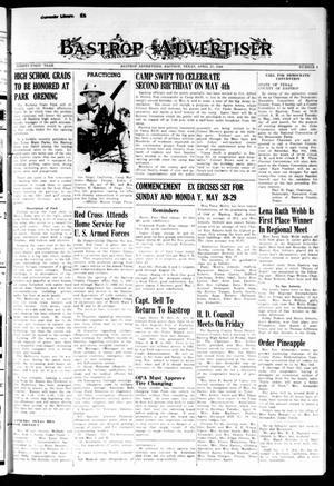 Primary view of Bastrop Advertiser (Bastrop, Tex.), Vol. 91, No. 6, Ed. 1 Thursday, April 27, 1944
