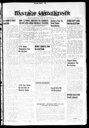 Primary view of object titled 'Bastrop Advertiser (Bastrop, Tex.), Vol. 91, No. 10, Ed. 1 Thursday, May 25, 1944'.