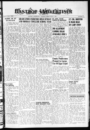 Primary view of object titled 'Bastrop Advertiser (Bastrop, Tex.), Vol. 91, No. 11, Ed. 1 Thursday, June 1, 1944'.
