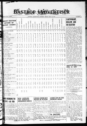 Primary view of object titled 'Bastrop Advertiser (Bastrop, Tex.), Vol. 91, No. 19, Ed. 1 Saturday, July 29, 1944'.