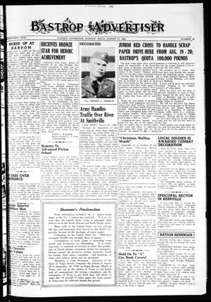 Primary view of object titled 'Bastrop Advertiser (Bastrop, Tex.), Vol. 91, No. 22, Ed. 1 Thursday, August 17, 1944'.