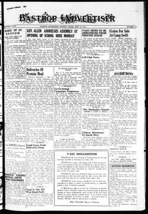 Primary view of object titled 'Bastrop Advertiser (Bastrop, Tex.), Vol. 91, No. 26, Ed. 1 Thursday, September 14, 1944'.