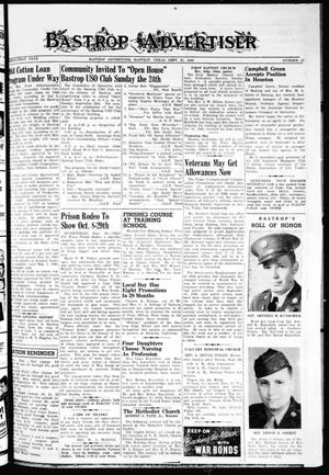 Primary view of object titled 'Bastrop Advertiser (Bastrop, Tex.), Vol. 91, No. 27, Ed. 1 Thursday, September 21, 1944'.