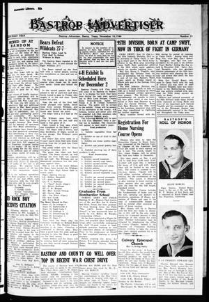 Primary view of object titled 'Bastrop Advertiser (Bastrop, Tex.), Vol. 91, No. 35, Ed. 1 Thursday, November 16, 1944'.