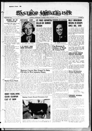 Primary view of object titled 'Bastrop Advertiser (Bastrop, Tex.), Vol. 91, No. 44, Ed. 1 Thursday, January 18, 1945'.