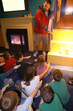 Primary view of object titled '[Jason Parenti talks about home safety to students from Wooden Elementary]'.
