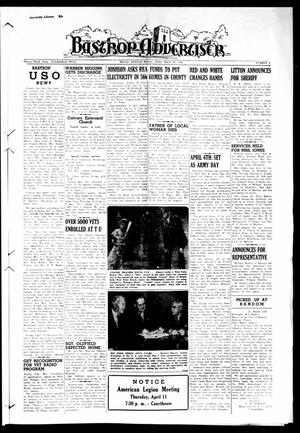 Primary view of object titled 'Bastrop Advertiser (Bastrop, Tex.), Vol. 93, No. 2, Ed. 1 Thursday, March 28, 1946'.