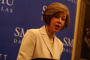 Primary view of object titled '[Kathleen Leos delivers a speech on bilingual education at Southern Methodist University]'.