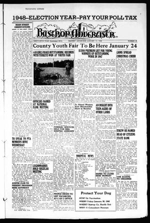 Primary view of object titled 'Bastrop Advertiser (Bastrop, Tex.), Vol. 95, No. 45, Ed. 1 Thursday, January 15, 1948'.