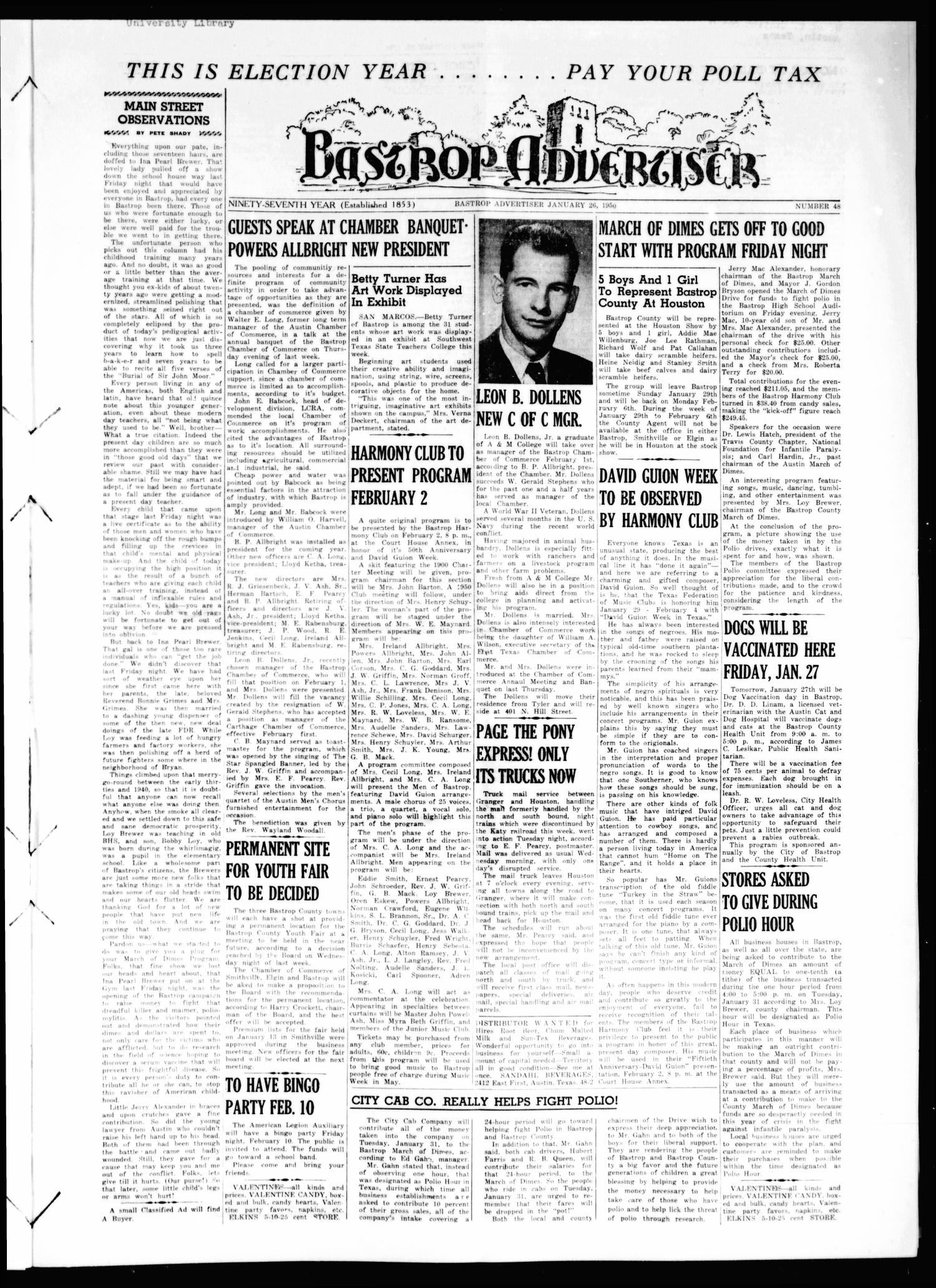 Bastrop Advertiser (Bastrop, Tex.), Vol. 97, No. 48, Ed. 1 Thursday, January 26, 1950                                                                                                      [Sequence #]: 1 of 8