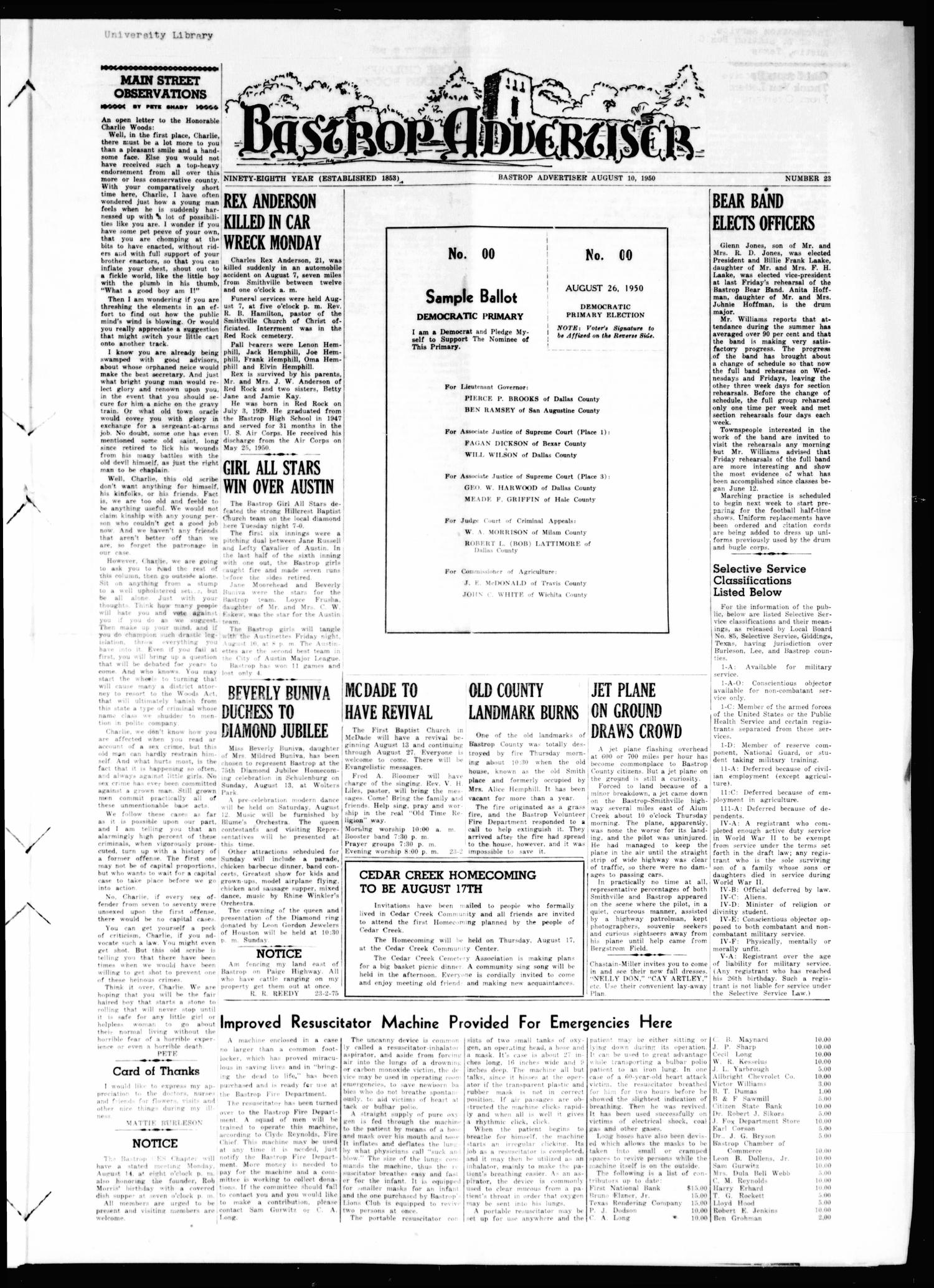 Bastrop Advertiser (Bastrop, Tex.), Vol. 98, No. 23, Ed. 1 Thursday, August 10, 1950                                                                                                      [Sequence #]: 1 of 8