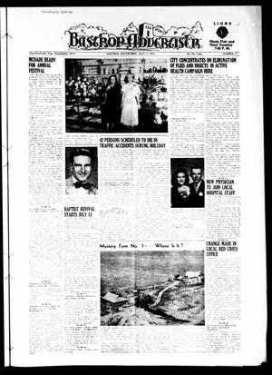 Primary view of object titled 'Bastrop Advertiser (Bastrop, Tex.), Vol. 100, No. 18, Ed. 1 Thursday, July 3, 1952'.