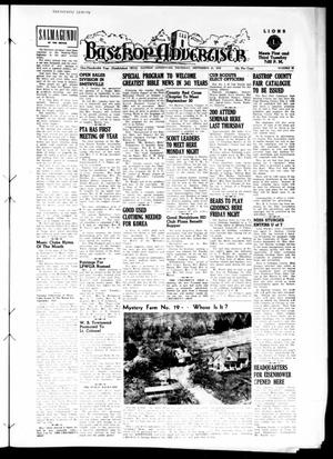 Primary view of object titled 'Bastrop Advertiser (Bastrop, Tex.), Vol. 100, No. 30, Ed. 1 Thursday, September 25, 1952'.