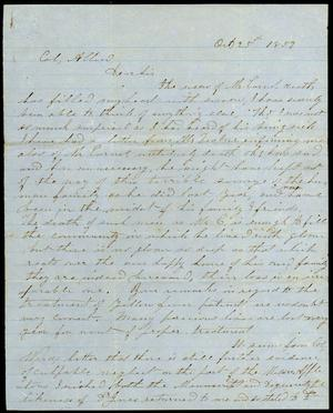 Primary view of object titled 'Letter to Colonel Allen, 25 October 1859'.