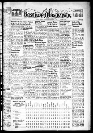 Primary view of object titled 'Bastrop Advertiser (Bastrop, Tex.), Vol. 102, No. 27, Ed. 1 Thursday, September 2, 1954'.