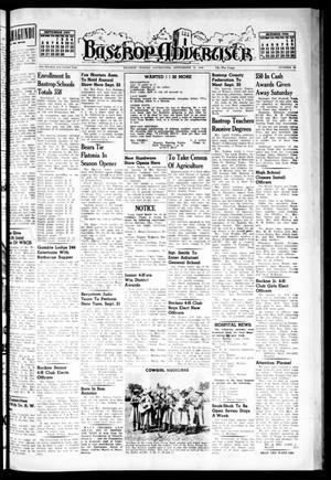 Primary view of object titled 'Bastrop Advertiser (Bastrop, Tex.), Vol. 102, No. 29, Ed. 1 Thursday, September 16, 1954'.