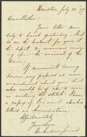 Primary view of object titled 'Letter to Mary Jones, 21 July 1879'.