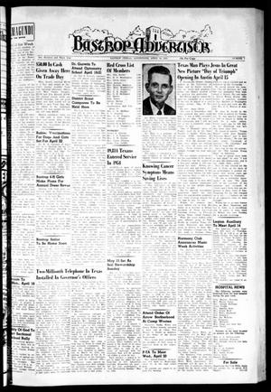 Primary view of object titled 'Bastrop Advertiser (Bastrop, Tex.), Vol. 103, No. 7, Ed. 1 Thursday, April 14, 1955'.