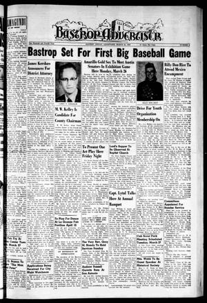 Primary view of object titled 'Bastrop Advertiser (Bastrop, Tex.), Vol. 104, No. 4, Ed. 1 Thursday, March 22, 1956'.