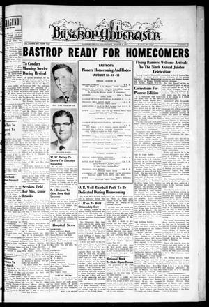 Primary view of object titled 'Bastrop Advertiser (Bastrop, Tex.), Vol. 104, No. 24, Ed. 1 Thursday, August 9, 1956'.