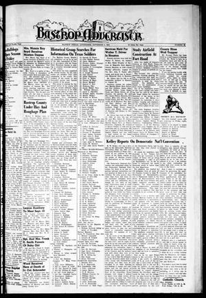 Primary view of object titled 'Bastrop Advertiser (Bastrop, Tex.), Vol. 104, No. 28, Ed. 1 Thursday, September 6, 1956'.