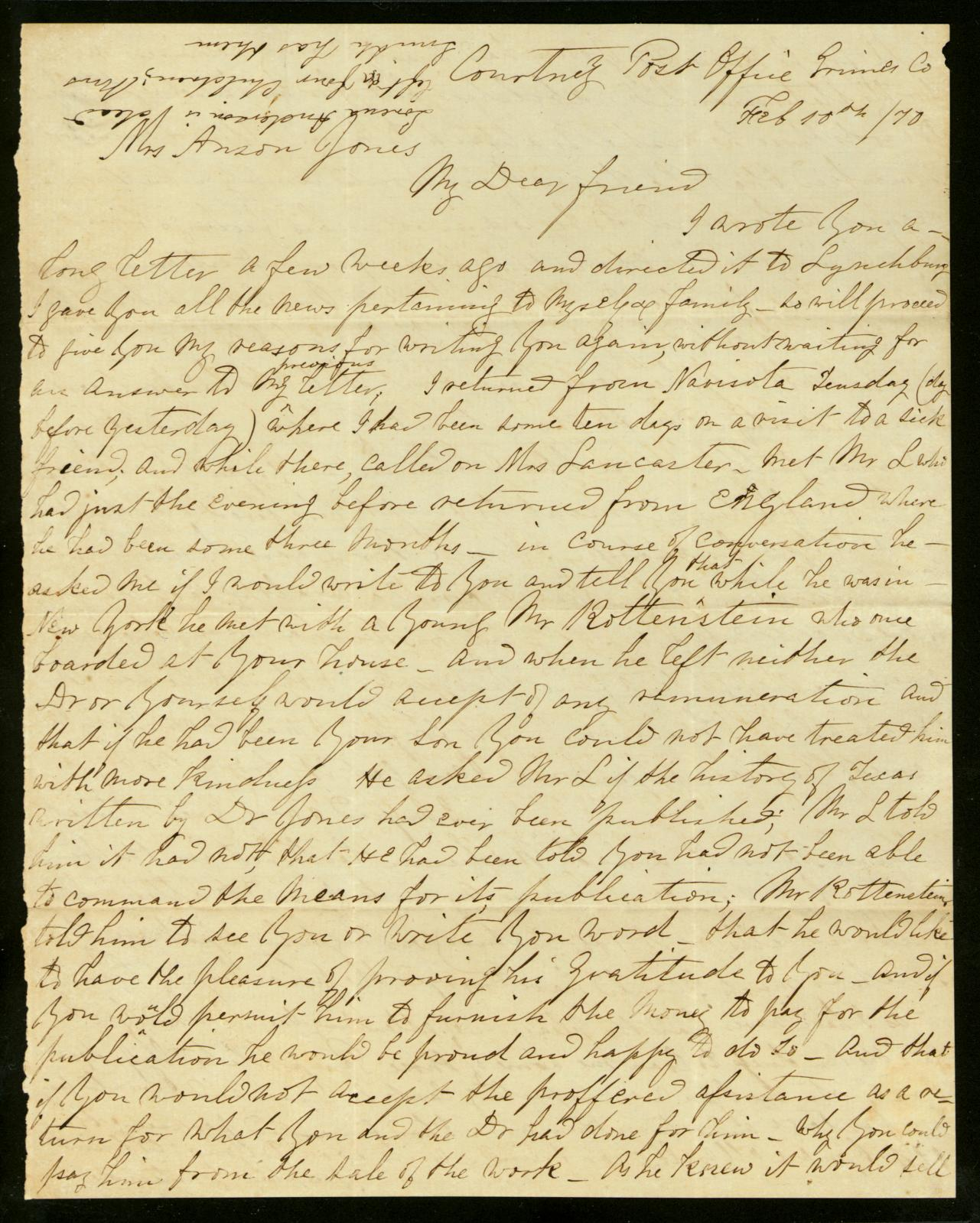 Letter to Mary Jones, 10 February 1870                                                                                                      [Sequence #]: 1 of 2
