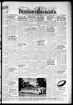Primary view of object titled 'Bastrop Advertiser (Bastrop, Tex.), Vol. 104, No. 29, Ed. 1 Thursday, September 13, 1956'.