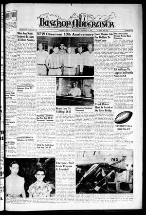 Primary view of object titled 'Bastrop Advertiser (Bastrop, Tex.), Vol. 104, No. 34, Ed. 1 Thursday, October 18, 1956'.