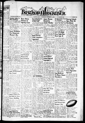 Primary view of object titled 'Bastrop Advertiser (Bastrop, Tex.), Vol. 105, No. 28, Ed. 1 Thursday, September 12, 1957'.
