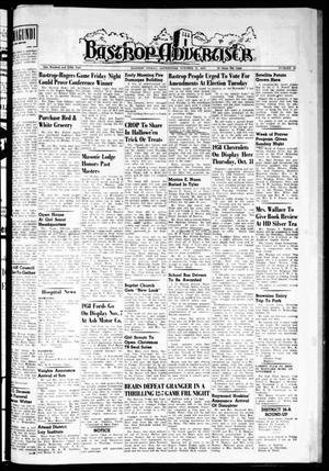 Primary view of object titled 'Bastrop Advertiser (Bastrop, Tex.), Vol. 105, No. 35, Ed. 1 Thursday, October 31, 1957'.