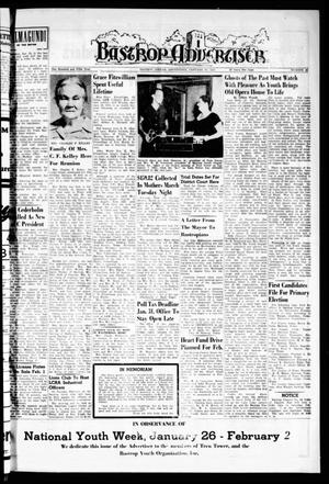 Primary view of object titled 'Bastrop Advertiser (Bastrop, Tex.), Vol. 105, No. 48, Ed. 1 Thursday, January 30, 1958'.