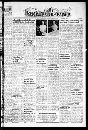 Primary view of object titled 'Bastrop Advertiser (Bastrop, Tex.), Vol. 105, No. 49, Ed. 1 Thursday, February 6, 1958'.