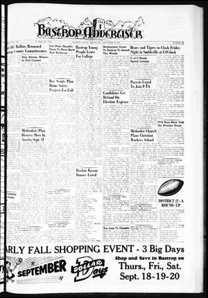 Primary view of object titled 'Bastrop Advertiser (Bastrop, Tex.), Vol. 106, No. 29, Ed. 1 Thursday, September 18, 1958'.