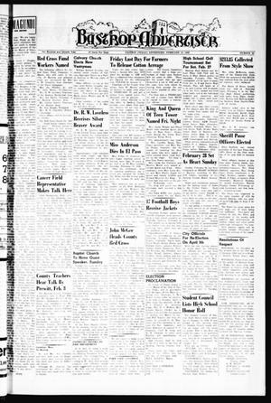 Primary view of object titled 'Bastrop Advertiser (Bastrop, Tex.), Vol. 107, No. 51, Ed. 1 Thursday, February 18, 1960'.