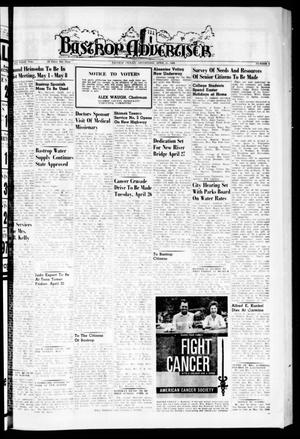 Primary view of object titled 'Bastrop Advertiser (Bastrop, Tex.), Vol. 108, No. 8, Ed. 1 Thursday, April 21, 1960'.